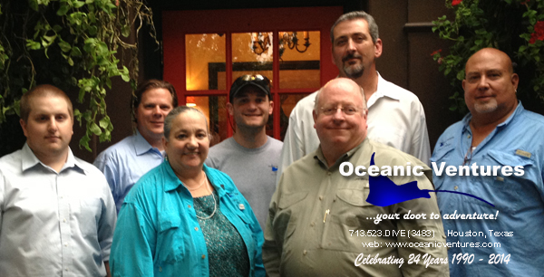 New Scuba Diving  Instructors John Davis, Joe Henry, Joel Hershey and Steve Soulen.  Also Pictured are Ann Keibler, Eric Keibler and Alex Witschey